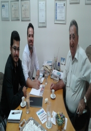 Reunião realizada com o Presidente da ACIA: Wilson Marinho da Cruz , Vereador: Lucas Zanata  e o Senhor: Guilherme Laluc